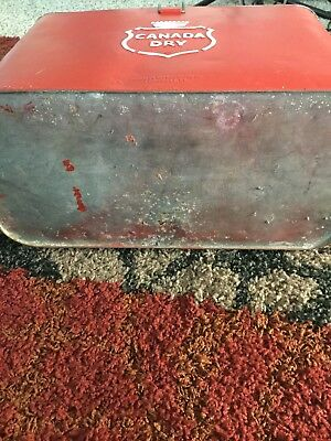 Vintage Canada Dry Ice Red and White Chest Steel Cooler