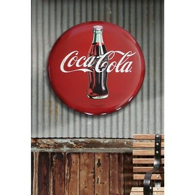 "Coca Cola Round Hollow Curved Tin Button Wall Sign 24"" Tin Metal Advertising"