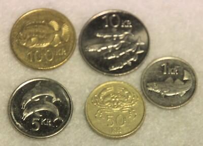 set of 5 different coins from Iceland