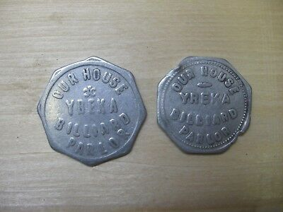 "Vintage Tokens From ""Our House Billiard Parlor"", Yreka, California"
