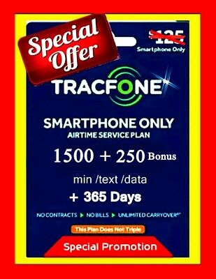 TracFone Refill  1 Year Service Plan + 2000 Minutes Promo FAST Digital Refill