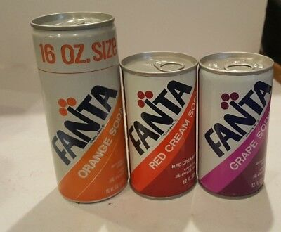 3 Fanta Red Cream Grape Orange Soda Coca Cola Aluminum Can Atlanta GA 16 oz