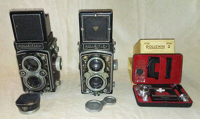 Rolleiflex TLR Lot - 2 Cameras and Rolleikin 2 Kit