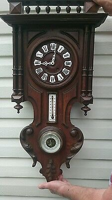 Antique french wall clock with thermometer and barometer