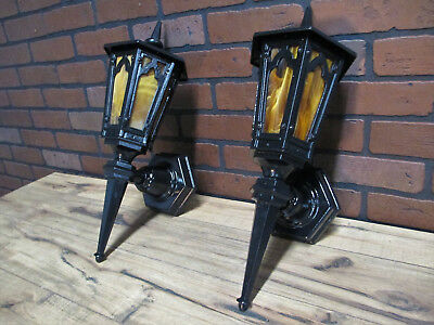 "PAIR Large Vintage Antique Cast Iron Porch Lights Gothic Tudor Restored 19"" Tall"