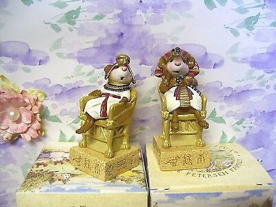 WEE FOREST FOLK Tutmouse's Egyptian Chess Set ~ Pharaoh & Queen in RED ~ BOXES!