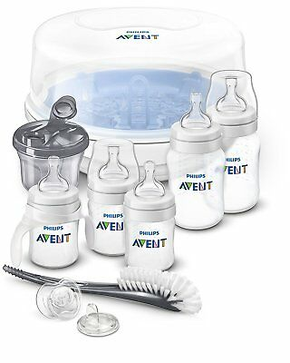4 BPA Free Anti Colic Easy Baby Feeding Bottles Set with Sterilizer Kills Germs