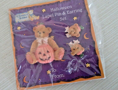 1993 Cherished Teddies Halloween Bear Lapel Pin & Earrings Set Pumpkin NEW