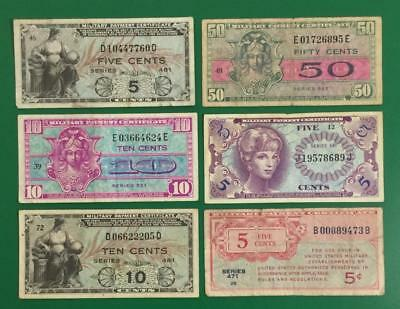 Military Payment Certificates SEt of 6 MPCs! All Different! Old US Currency