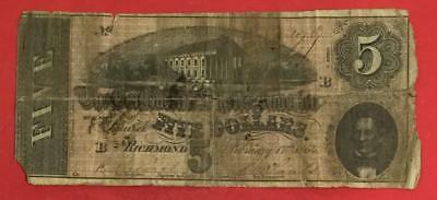 1864 $5 US Confederate States of America! Rough! Old US Paper Money currency