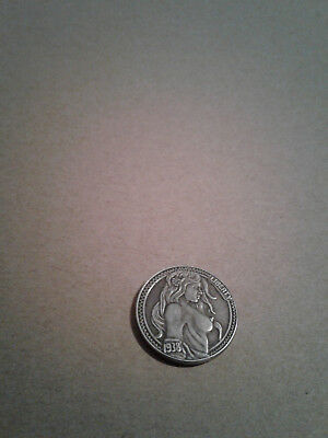 Hobo Nickel Naked Girl Front,1938D Cow Zombie Skeleton back pressed coin.