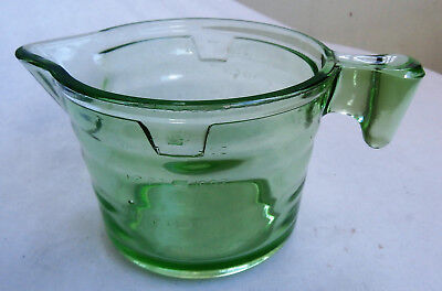 Vintage Green Depression Glass Jug~ 2 Cup~Pints And Ounces