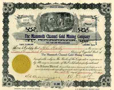 1909 Mammoth Channel Gold Mining Stock Certificate