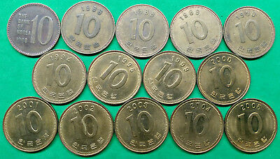 Lot of 14 Different South Korea 10 Won Coins 1980-2005 !!  KM#33.1