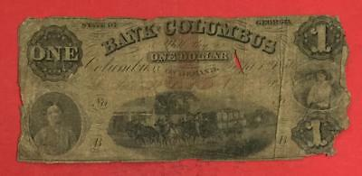 """1856 $1 US """"COLUMBUS GEORGIA"""" """"LARGE SIZE"""" Currency! Rough!"""
