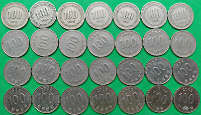 Lot of 28 Different South Korea 100 Won Coins 1973-2005 !!  KM#35.2  KM#9