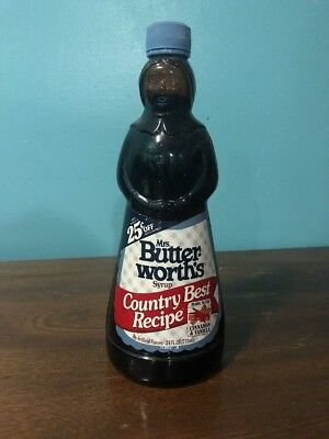 Vintage Mrs. Butterworth's Glass Syrup Bottle Country Best Recipe Seal Intact