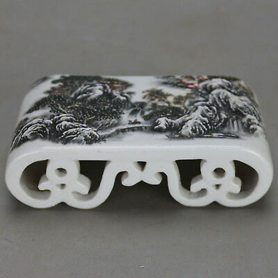 Chinese Old Hand-Carved Porcelain Famille Rose Glaze Snowscape Paperweight