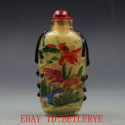 Antique Chinese Glass Internal Hand-painted Goldfish Snuff Bottles