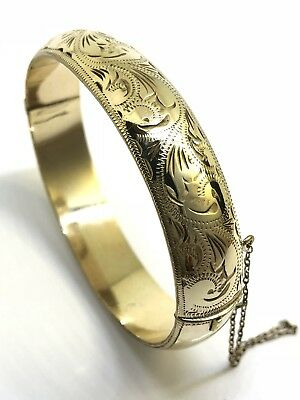 VINTAGE SCANDIA 9CT YELLOW GOLD LINED FLORAL ENGRAVED HINGE 8mm WIDE BANGLE