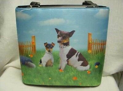 Rat Terrier Bucket Style Microfiber Handbag