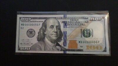 US 100 dollars 2013 Binary 0-5 and  2 Digit Low Serial Number MB00000055F