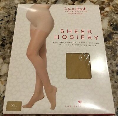 Isabel Maternity Sz XL Sheer Hose Pantyhose Nude-Expanding Comfort Panel NEW