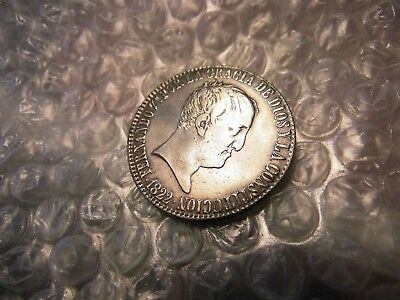 Spain 1822-M 20 Reales Silver Coin