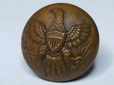 (144) Indian Wars US Army infantry eagle military uniform button - great patina