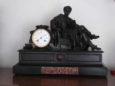 Antique Henry Marc 15 Day Marble/slate French Ormolu Clock