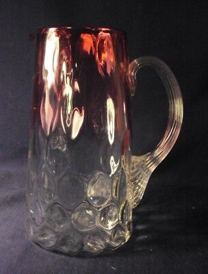 """Rubena inverted Thumbprint pitcher 7"""" blown glass cranberry to clear antique"""