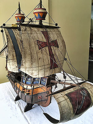 Historic and vintage model of a 3 mast 'Carrack'  sailing ship