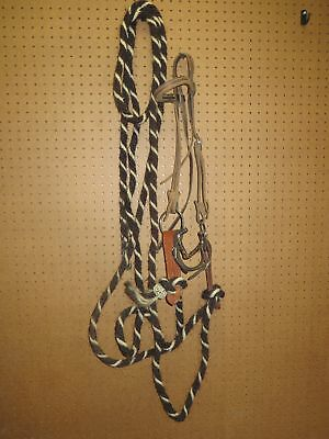 Bridle With Ring Snaffel Bit& And 21 Foot Long Blind Bob Mecate