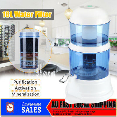 8 Stage Water Filter 16L Ceramic Carbon Mineral Bench Top Dispenser Purifier Jug