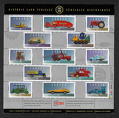 Canada — Pane of 13 Stamps — Historic Land Vehicles Collections #1605(Half) —MNH