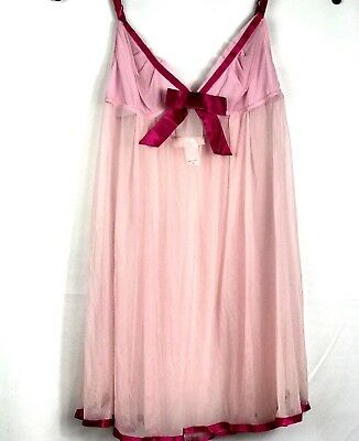 Victoria's Secret Angels Women Camisole Chemise Pink Sheer Size Large Adj Straps