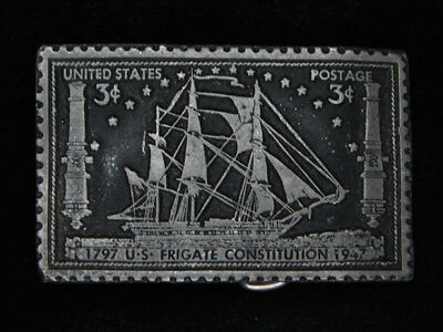 QL19122 VINTAGE 1970s *U.S. FRIGATE CONSTITUTION* POSTAGE STAMP MILITARY BUCKLE
