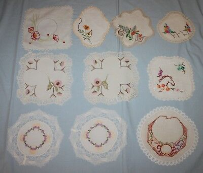 10 Vintage Embroidered & Painted Doilies