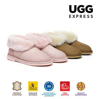 EVER UGG Ladies Mallow Ankle Slippers/Scuffs, Premium Australian Sheepskin