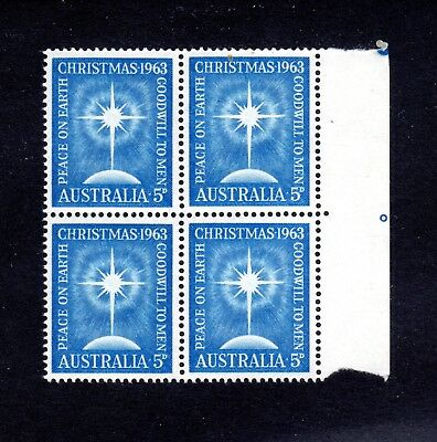 1963 **MUH** 5d BLUE  CHRISTMAS - BLOCK of 4 plus 2 PIPS - STAMPS NICELY CENTRED