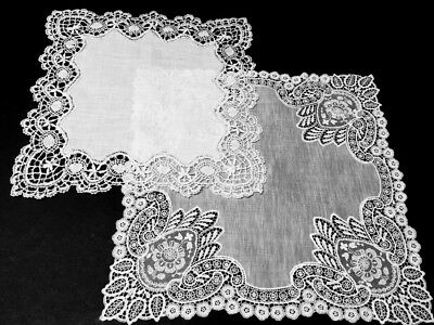 2-Fabulous Antique VICTORIAN LACE Hankies-White & Off White!