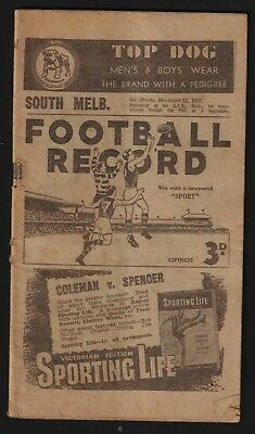 FOOTBALL RECORD. VFL. AUGUST 12th. 1950. NORTH MELBOURNE v SOUTH MELBOURNE.