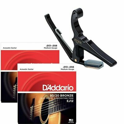 Kyser 6-String Acoustic Guitar Capo with 2 sets of D'addario EJ12 Strings 13-56