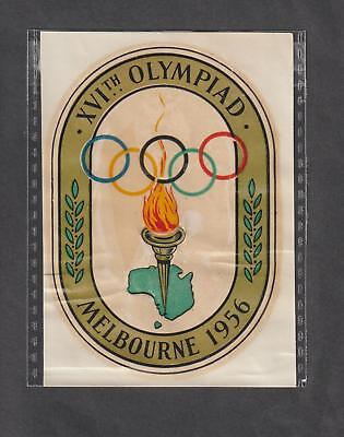 MELBOURNE 1956 OLYMPIC GAMES UNUSED WINDSCREEN TRANSFER.RINGS,TORCH,etc.