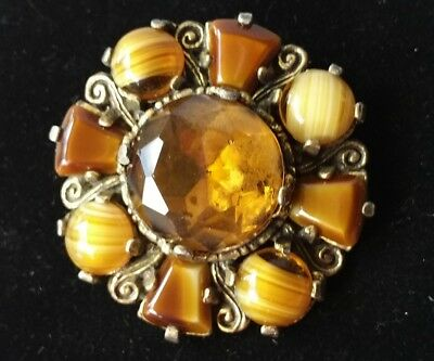 Vintage Goldtone Faceted Rhinestone Edged By Rich Chocolate Caramel Agate Brooch
