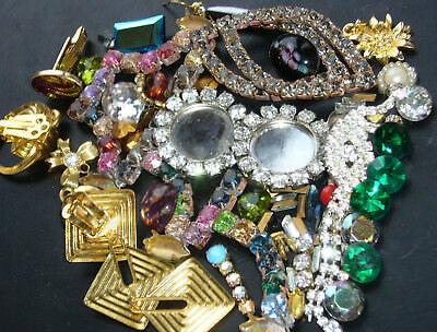 Nice Vintage Exlusive Antique Rhinestones Lot Of Broken Junk  Mix Jewerly  L281