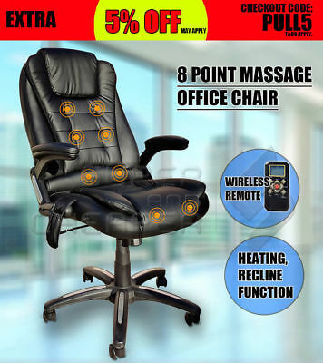 6Point Massage Executive Office Computer Chair Heated Recliner Black PU leather#