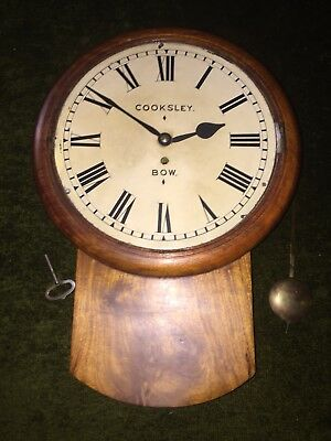 "Antique Mahogany Drop Dial Clock Fusee Movement Cooksley BOW. 12"" Enamel Dial"
