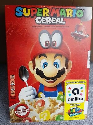 VARY RARE Super Mario Cereal with Amiibo - Unopened (Exp 25/08/18) - Free Post!