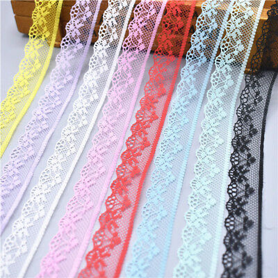 10yards 18mm Wide unilateral Handicrafts Embroidered Net Lace Trim Ribbon
